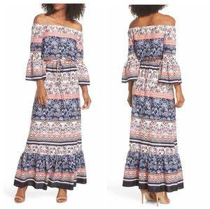 Eliza J Off Shoulder Tie Waist Bell Maxi Dress 2P